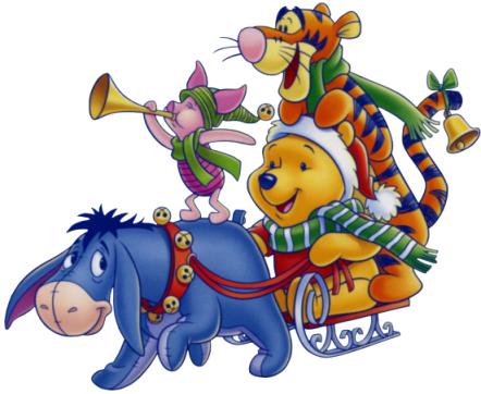 christmas-pooh-piglet-tigger-eeyore-sleigh